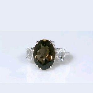 Jewelry - STERLING SILVER SMOKY QUARTZ w/ WHITE TOPAZ RING